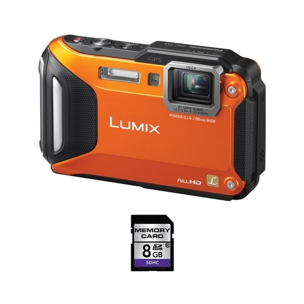 Panasonic Lumix DMC-TS5 Waterproof Orange Digital Camera 8GB Bundle