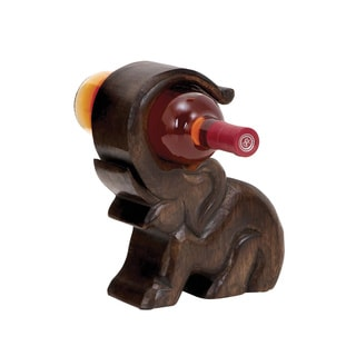 Benzara Wood Elephant Wine Holder