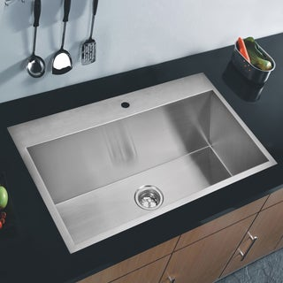 Water Creation 33-inch X 22-inch Zero Radius Single Bowl Stainless Steel Hand Made Drop In Kitchen Sink