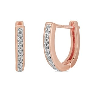 10k Rose Gold Children's Diamond Accent Hoop Earrings