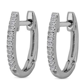 10k White Gold Children's Diamond Accent Oval Hoop Earrings
