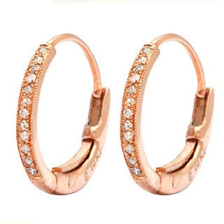 AALILLY 10k Rose Gold Children's Diamond Accent Hoop Earrings (H-I, I2-I3)