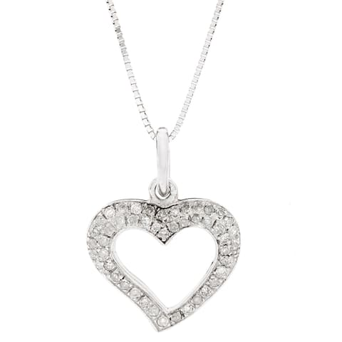 AALILLY 10k White Gold 1/6ct TDW Diamond Heart Pendant Necklace