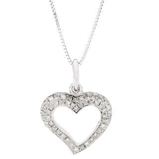 AALILLY 10k White Gold 1/6ct TDW Diamond Heart Pendant Necklace (H-I, I2)