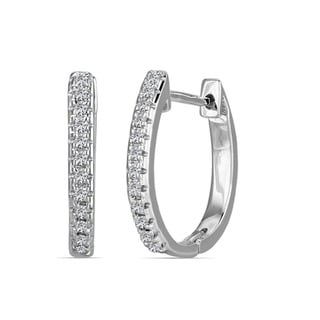 10k White Gold Children's Round-cut Diamond Accent Hoop Earrings