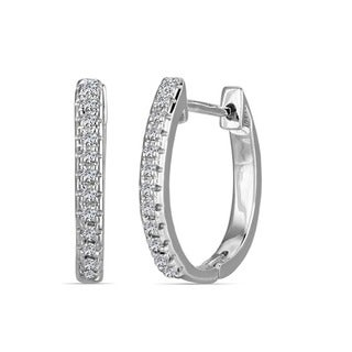 AALILLY 10k White Gold Children's Round-cut Diamond Accent Hoop Earrings