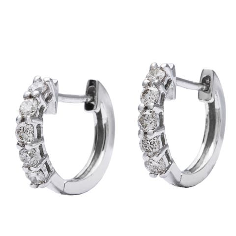 AALILLY 10k White Gold 1/4ct TDW Children's Round-cut Diamond Hoop Earrings