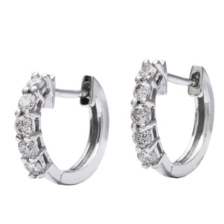 10k White Gold 1/4ct TDW Children's Round-cut Diamond Hoop Earrings (H-I, I1)
