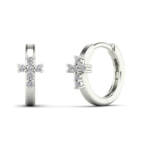 AALILLY 10k White Gold Children's Diamond Accent Cross Hoop Earrings