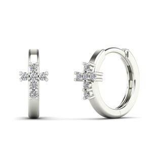 10k White Gold Children's Diamond Accent Cross Hoop Earrings (H-I, I1)