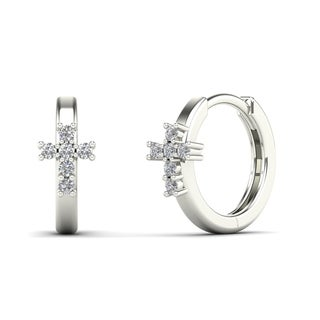 AALILLY 10k White Gold Children's Diamond Accent Cross Hoop Earrings