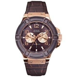 Guess Men's U0040G3 Brown Leather Brown Dial Quartz Watch