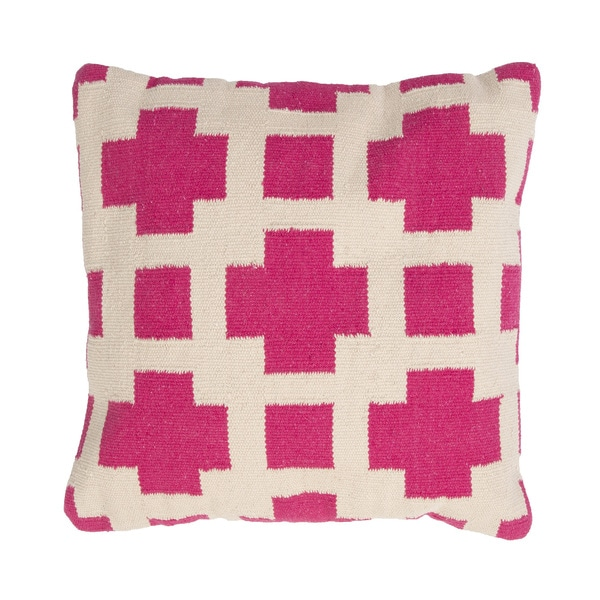 Handmade Pink/ Ivory/ White Cotton 18x18-inch Pillow