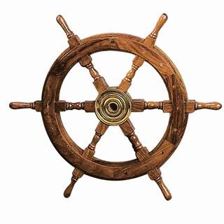 Wood Brass Nautical Wheel Wall Decor