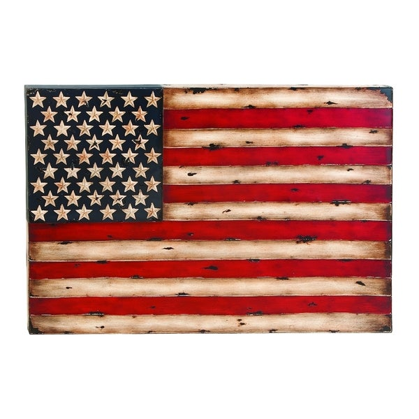 Metal wall decor with american flag replica free for American flag decoration