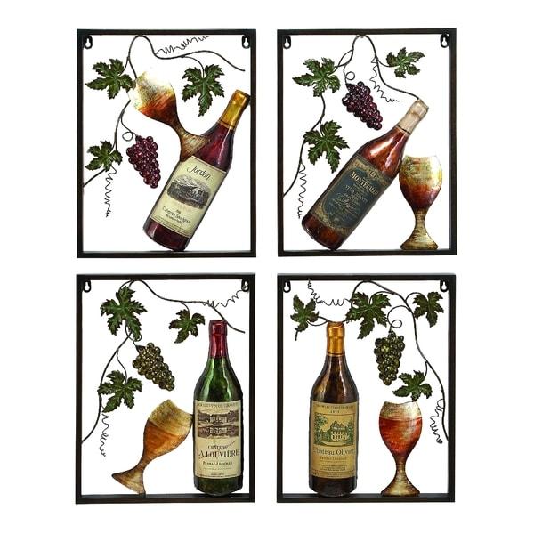 Metal Wine Decor Set of 4