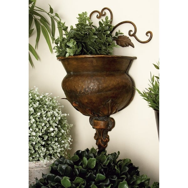 Traditional 11 Inch Bronze-Finished Metal Wall Planter by Studio 350 - Bronze