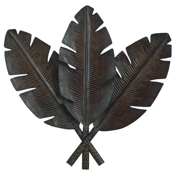 Metal Palm Wall Decor with 3 Distressed Palm Leaves - Free ...