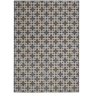kathy ireland Hollywood Shimmer Architectural Times Square Steel Area Rug by Nourison (7'9 x 10'10)