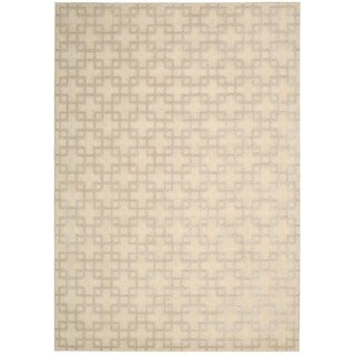 kathy ireland Hollywood Shimmer Architectural Times Square Bisque Area Rug by Nourison (5'3 x 7'5)