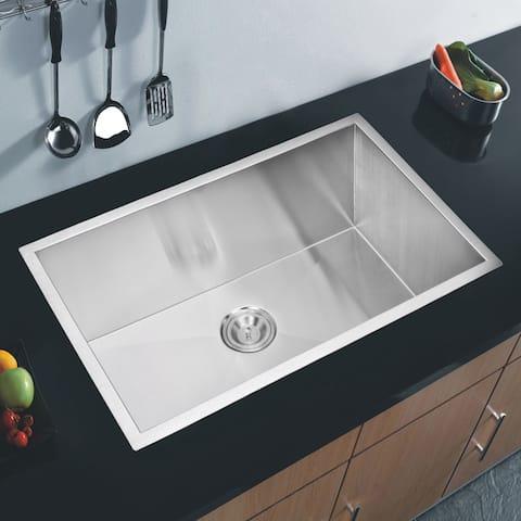 Water Creation 32-inch X 19-inch Zero Radius Single Bowl Stainless Steel Hand Made Undermount Kitchen Sink