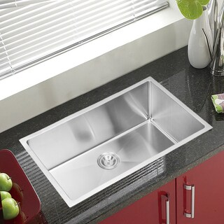 Water Creation  32-inch X 19-inch 15 mm Corner Radius Single Bowl Stainless Steel Hand Made Undermount Kitchen Sink