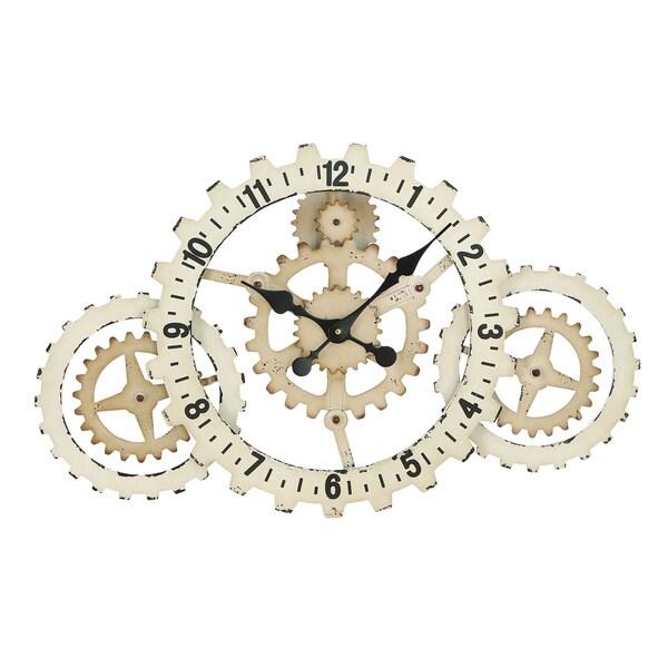 Metal Gears Wall Clock with Elegant Grandeur and Majestic Charm