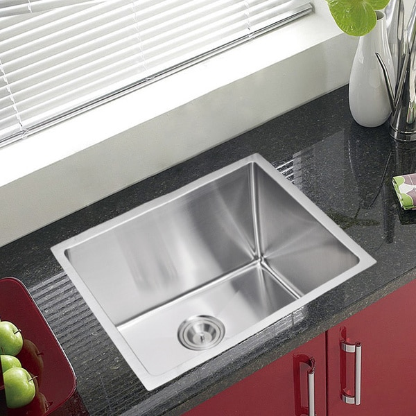 Water Creation Single Bowl Stainless Steel Undermount Kitchen Sink With Drain and Strainer