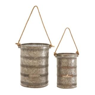 Elegant Metal Galvanized Lantern (Set of 2)