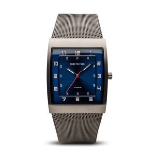 BERING Classic Slim Watch With Hardened Mineral Crystal & Grey Stainless Steel Strap