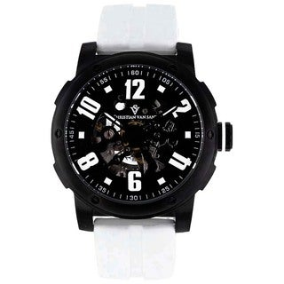 Christian Van Sant Men's Black/White Skeleton Watch