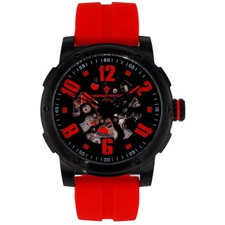 Christian Van Sant Men's Black/Red Skeleton Watch