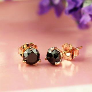 Auriya 14k Rose Gold Martini-Set Black Diamond Solitaire Stud Earrings
