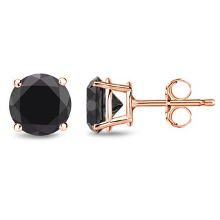 Auriya 14k Rose Gold Black Diamond Basket-set Stud Earrings