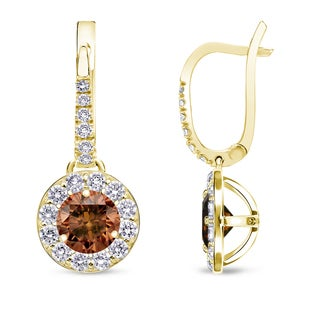 Auriya 14k Yellow Gold Brown Diamond Leverback Earrings