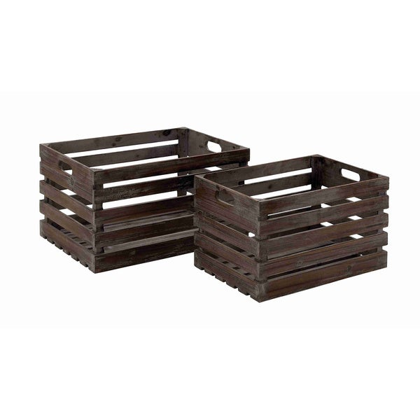 Wood Wine Crates (Set of 2) - Free Shipping Today - Overstock.com ...