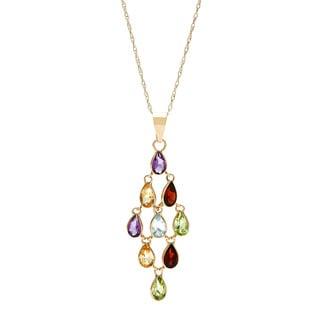 14k Yellow Gold Multi-gemstone Pendant
