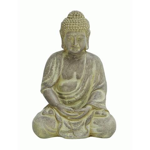 The Curated Nomad Castenada Antiqued Fiber Clay Sitting Buddha
