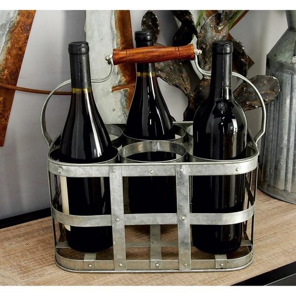 Farmhouse 7 x 13 Inch Gray Iron 6-Bottle Wine Holder by Studio 350