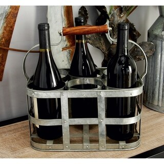 Farmhouse 7 x 13 Inch Gray Iron 6-Bottle Wine Holder by Studio 350