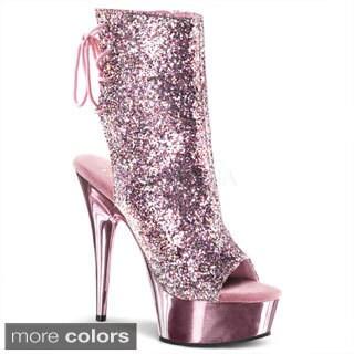 Pleaser Women's 'Delight-1018G' Glittery Peep-toe Ankle Boots