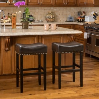 Louigi 30-inch Brown Backless Leather Bar Stool (Set of 2) by Christopher Knight Home
