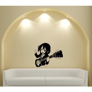 Japanese Manga Guitar Girl Vinyl Decal Sticker