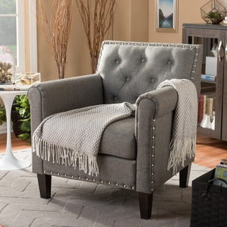 Baxton Studio 'Thalassa' Grey Linen-like fabric Modern Arm Chair