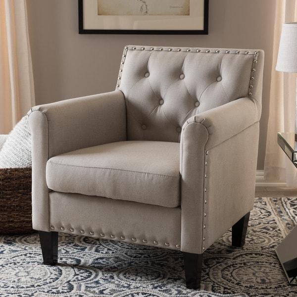 Baxton Studio 'Thalassa' Beige Linen-like Fabric Modern Arm Chair