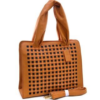 Dasein Studded Chevron Dual Zip Satchel Bag