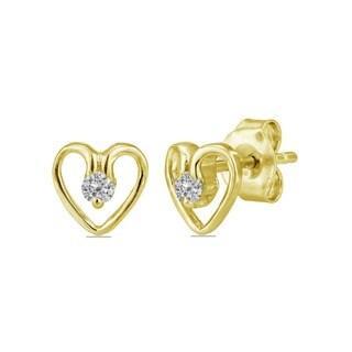 AALILLY 10k Yellow Gold 1/10ct TDW Diamond Heart Earrings