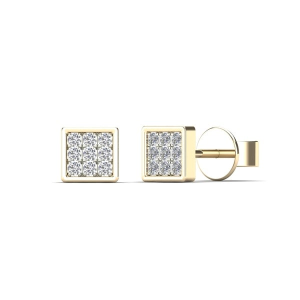55a8915d1c1 Shop AALILLY 10K Yellow Gold Children's Diamond Accent Square Stud ...
