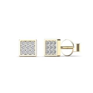 10k Yellow Gold Children's Diamond Accent Square Stud Earrings (H-I, I2)