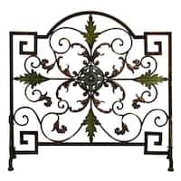 Uniquely Designed Single Panel Metal Fire Screen, Bronze and Green